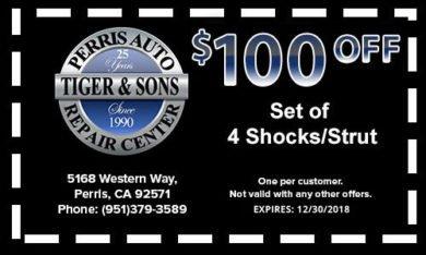 $100 off Set of 4 Shocks/Struts